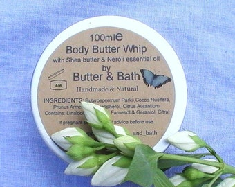 Vegan Body Butter with Orange Blossom, Neroli Whipped Shea Butter Lotion for Dry Skin, All Natural Body Cream