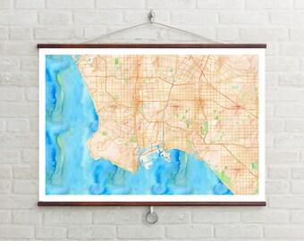 Map of LA, Los Angeles, Los Angeles art, Los Angeles map, Los Angeles print, Los Angeles Decor, Los Angeles Gift, LA Art Map, LA Poster, Map