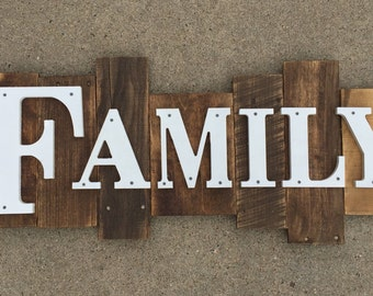Rustic Wood Sign -Family- Large