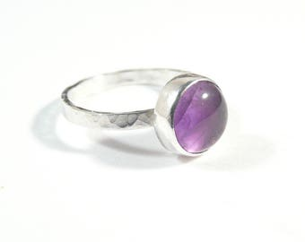 Minimalist sterling silver ring with amethyst