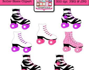 Roller Skate Clipart - Skating Party Clipart - Leopard Print - Zebra Print