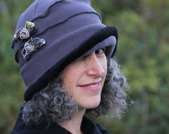 Ladies Fleece Hat - Flapper Cloche -  Grey with velvet bows - Emma Rose