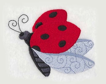 Ladybug in Flight Tea Towel | Embroidered Kitchen Towel | Embroidered Tea Towel | Personalized Kitchen Towel | Ladybug Gifts | Hand Towel