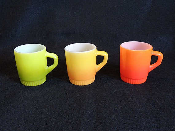 3 Mid Century FIRE KING Stackable Mugs.. Ombre Orange, Yellow And Avocado Green