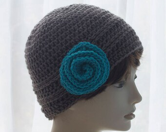 Brown Crochet Hat with Flower, Women's Winter Hat, Crochet Toque, Flower Cloche Hat