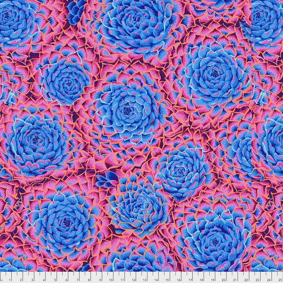 SUCCULENT BLUE PWPJ091  Philip Jacobs for Kaffe Fassett Collective Sold in 1/2 yard increments Item