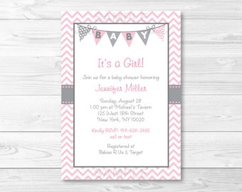 Cute Pink Chevron Baby Shower Invitation / Chevron Baby Shower Invite / Chevron Pattern / Pink & Grey / Baby Girl Shower / PRINTABLE A201