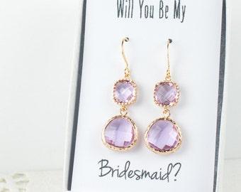 Long Lavender Gold Earrings, Gold Lavender Earrings, June Birthstone Gold Earrings, Bridesmaid Jewelry, Lavender Wedding Jewelry