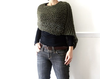 Poncho Knitting PATTERN- Woodland Poncho, Asymmetrical Super Chunky Shoulders Wrap, Winter/Fall Cover Up