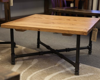 Industrial Coffee Table   Coffee Table With Black Iron Pipe Legs   Rustic Coffee  Table  