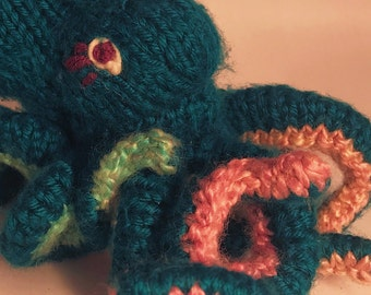 Handmade Knit Stuffed Octopus
