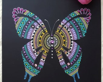 The Butterfly Collection (Original) - süß, Handmade butterfly mandala with rhinestones, perfect gift, very unique