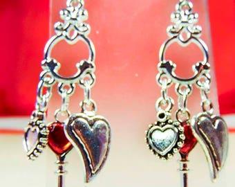 VALENTINE EARRINGS, valentine jewelry, heart charms, key charm, red crystal heart, surgical steel, steel earwires, love jewelry - 2104HO