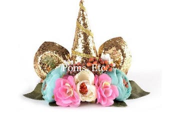 Unicorn Headband Glitter Crown Deluxe Gold