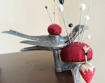 Antique Sewing Bird Clamp with Pincushions Silver