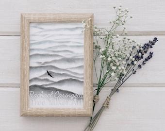 Bird Flying Over Mountains - Misty Mountains- Tree Talker Art - Rachael Caringella