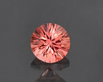 Peachy Pink Concave Round Cut Tourmaline Gemstone 1.36 cts.