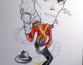Michael Jackson Rock Portrait Rock and Roll Caricature Music Art by Leslie Mehl