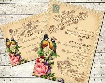 Tallulah - Jahrgang viktorianische Liebe Vögel und Rosen - druckbare DIY Hochzeit Einladung Suite - individuelle Hochzeitseinladung