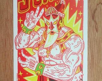 "Luchador ""Santo Claus"" 4x6"" postcard - Original illustration"