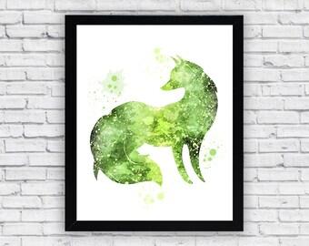 Green Fox Watercolor print, Fox Printable Wall Art, Fox wall decor, Fox poster