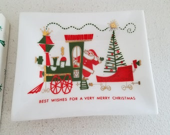 Vintage Christmas Houze Art Glass Tray