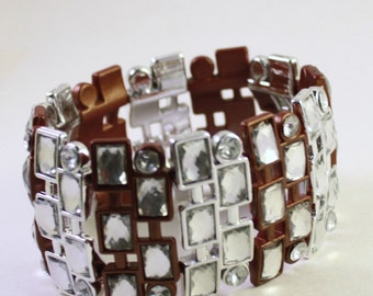 Metallic Silver & Copper Acrylic Beaded Bracelet, Double Strand, Rhinestones, Wholesale Bead Supplies