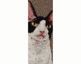 Cornish Rex Cat Peyote Bead Pattern, Bracelet Cuff, Bookmark, Seed Beading Pattern Miyuki Delica Size 11 Beads - PDF Instant Download