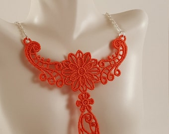 Dark Coral lace necklace Lace jewelry Coral necklace Bib Necklace Statement necklace Bridesmaids gift Large necklace Bib lace jewelry