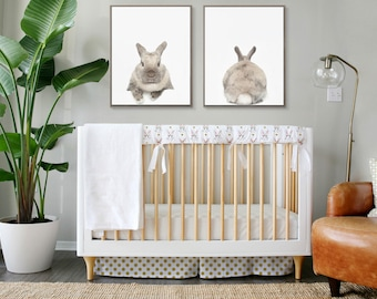Bunnies & Gold // Standard Crib or Oval bedding // Choose your fabrics // Choose your Trim