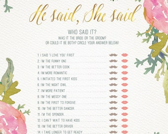 BRIDAL SHOWER GAME He Said She Said / Watercolor Floral design in pink and gold