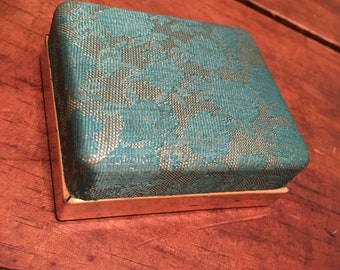 Beautiful vintage teal and gold brooch box