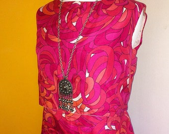 Stunning original 60s 1960s mod psychedelic silk dress UK 16