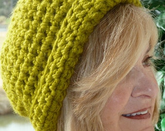 Women's winter hat in green, unique women's winter head fashions, original and handcrafted crochet hat with class, Bohemian accessories