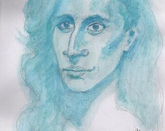 Blue Lady portrait, Female Watercolour portrait, Female Watercolour print, Woman's face portrait, Portrait home decor,
