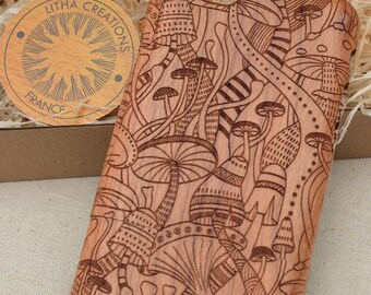 Psychedelic Design DMT Wood Phone Case HTC One M10 M9 LG Nexus 5x G4 G5 Sony Xperia Z5 Z3  Compact Natural Cherry Wooden Cover Style Custom