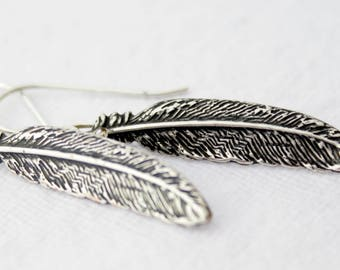Sterling Silver Feather Earrings, Long Feather Earrings, Feather Jewelry,Dainty Feather Earrings,Minimalist Jewelry,Antiques Silver Feathers