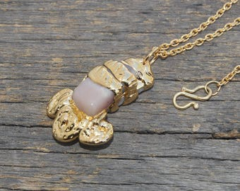 "1.92"" Gold Electroplated Natural Pink Peruvian Opal Necklace / Gemstone Necklace /Helps To Dissipate Stress /Tumbled Handcrafted Pendant W79"