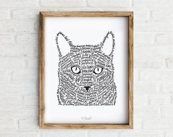Cat Art Print, Hand Lettered Wall Art, Cat Illustration