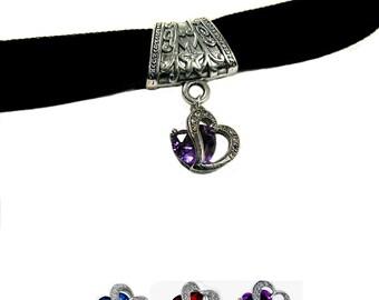 velvet choker necklace,heart velvet choker,velvet choker