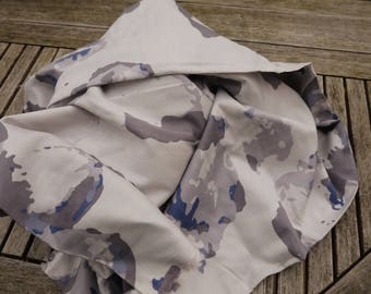 Gray cotton Voile very light grey and blue camouflage patterns (sold in 0.50 cm)