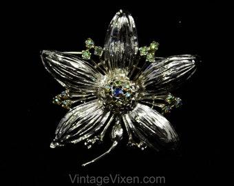 Bold Silver Flower Brooch - 1960s Five Petal Floral Pin - Aurora Borealis Rhinestones - Silvertone Metal - 60s Mid Century Classic - 50618
