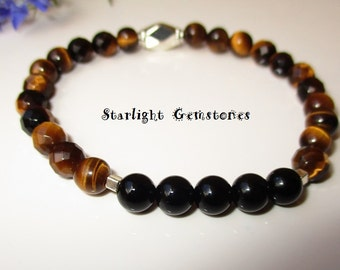 Tigers Eye and Obsidian Gemstone beads with Hill Tribe Sterling Silver Spacers Stretch Bracelet