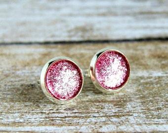 pink sparkle stud earrings, post earrings, silver earrings, gift for her, glitter earrings