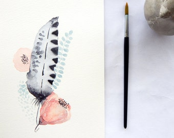 Original watercolor feather. Feather painting. Grey black feather art.  Feather with flowers. Feather wall art. Original feather artwork.