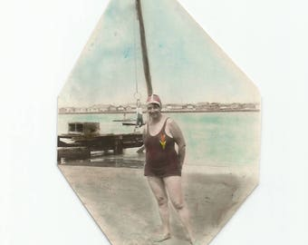 """Vintage Snapshot """"Photo Bomb"""" Boy Swinging On Ring Behind Swimsuit Woman Hand-Colored Photo Found Scrapbook Trimmed Photo"""