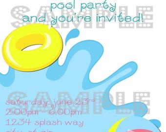 DIY Printable Splash Birthday  Invitation