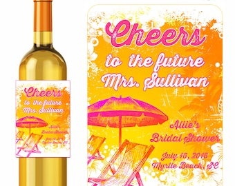 Bachelorette Wine Labels Personalized Stickers Cheers To The Future Mrs. Celebration Labels Bridal Shower Labels Tropical Beach Label