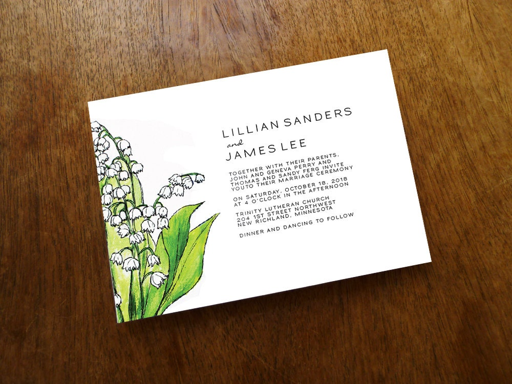 Printable Wedding Invitations Lily of the Valley Wedding