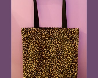 Furry animal print Leopard Tote Bag with inside zip